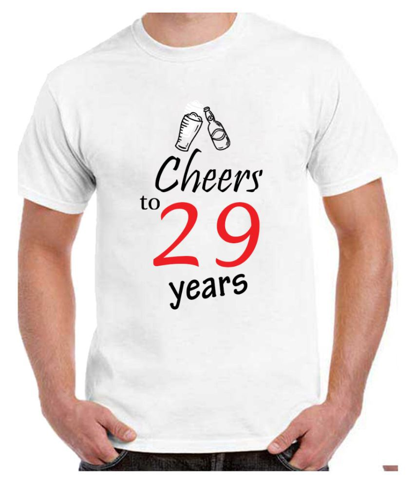 Ritzees Unisex Half Sleeve Dry Fit White Polyester T-Shirt on 29Th Birthday-XXL