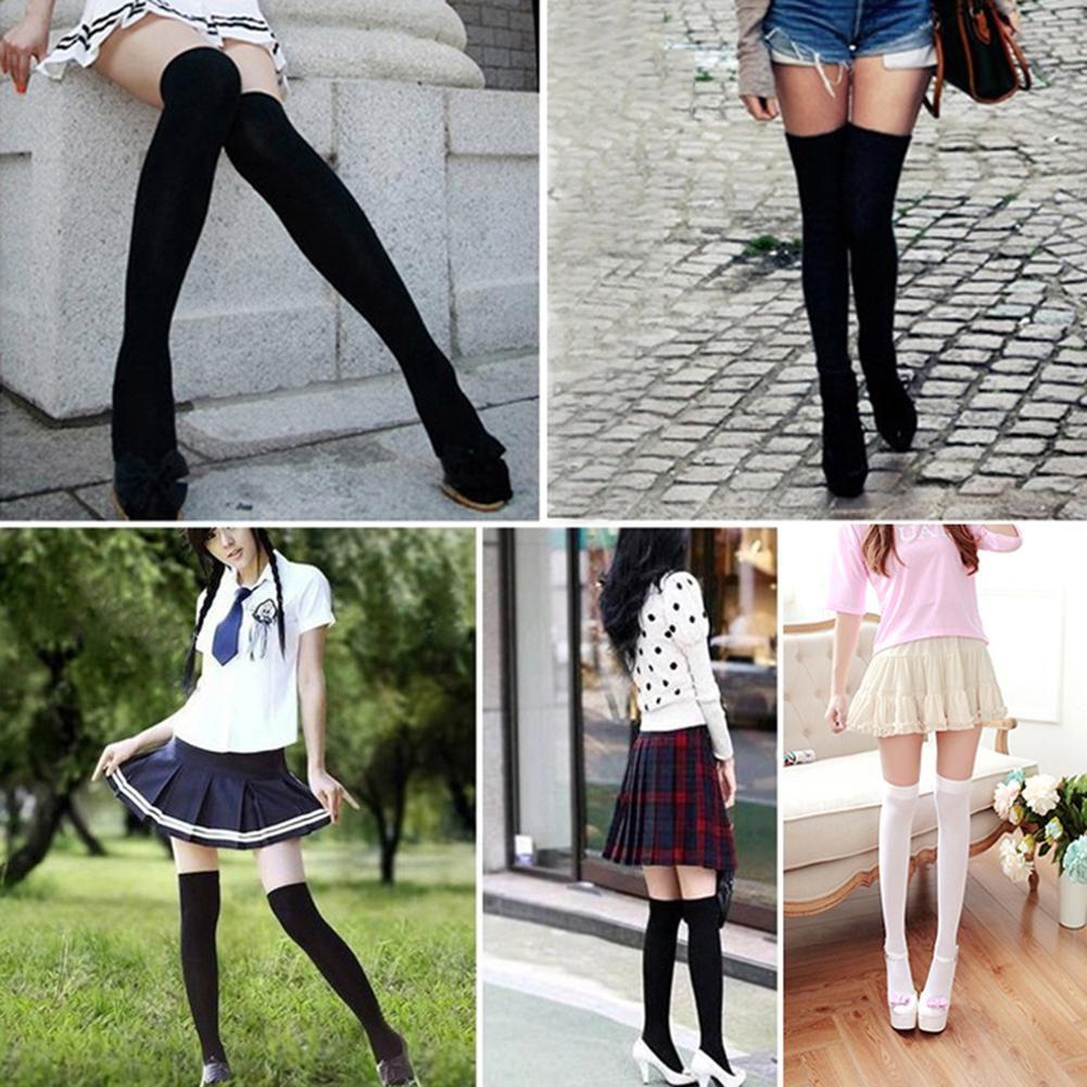 7e6badf7896a1 ... Women Opaque Over Knee Thigh High Elastic Long Socks Girls Cosplay  Stockings ...