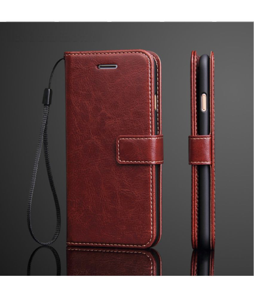 Xiaomi Redmi Y1 Flip Cover by ELEF - Brown Vintage Look Original Leather Flip Wallet Case