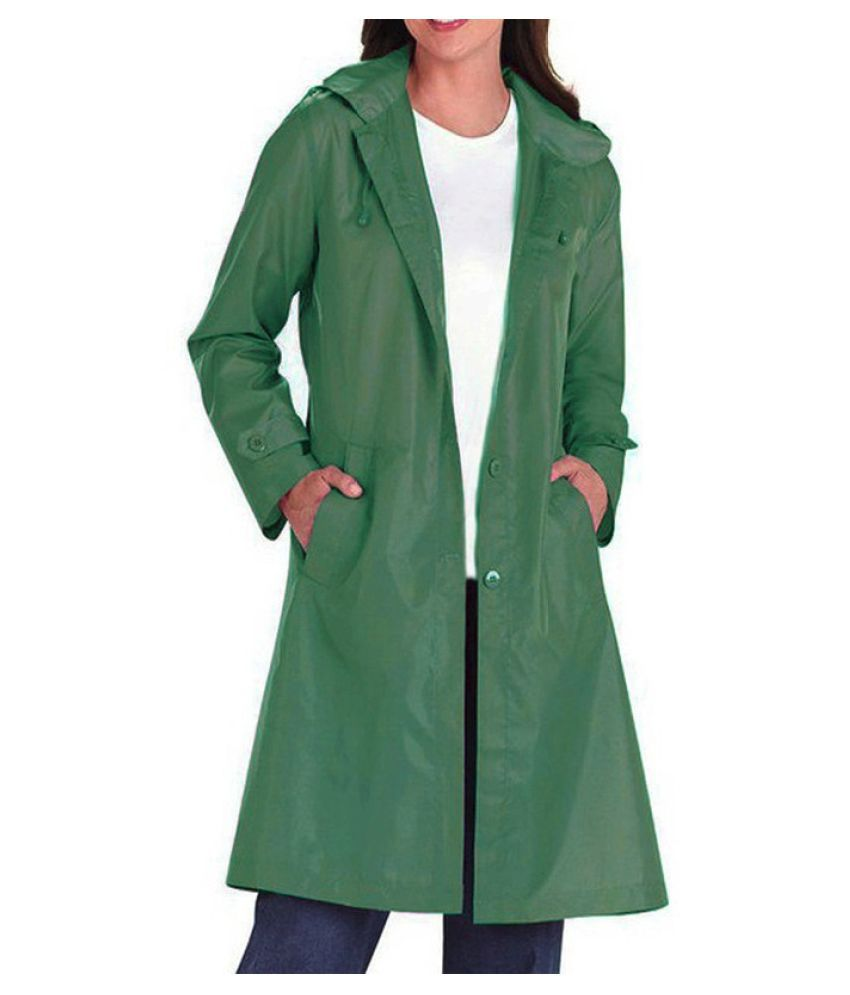 Changing Destiny Polyester Long Raincoat - Green