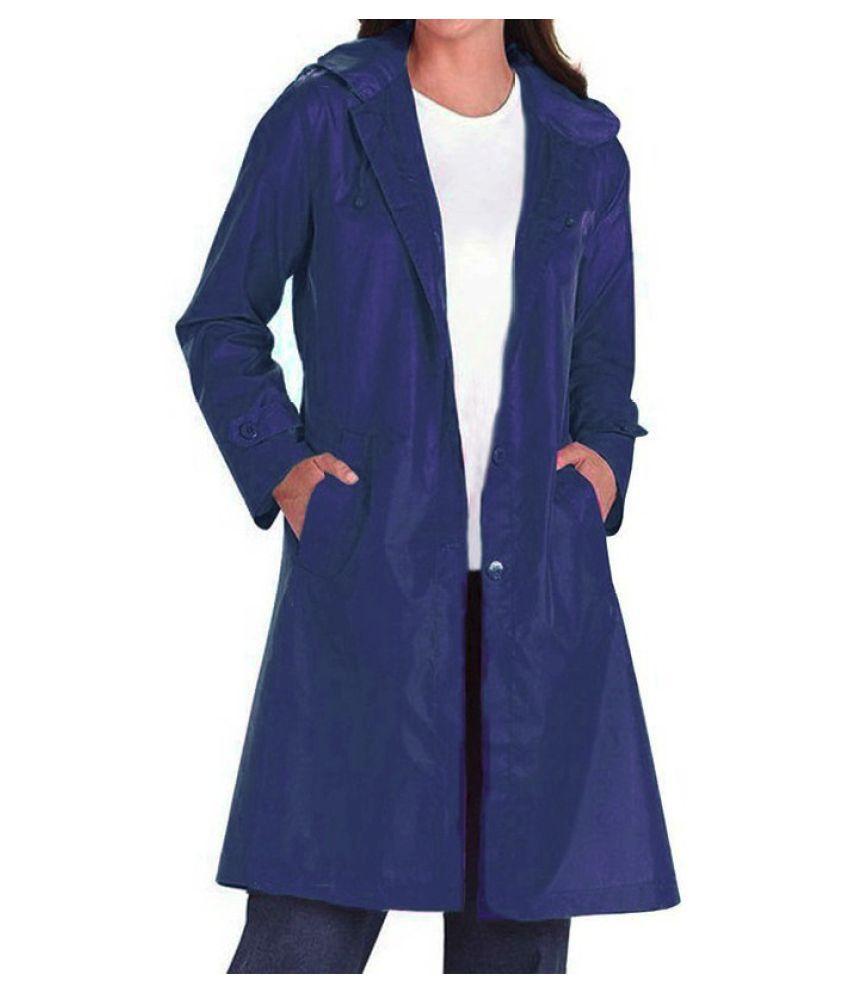 Changing Destiny Polyester Long Raincoat - Navy