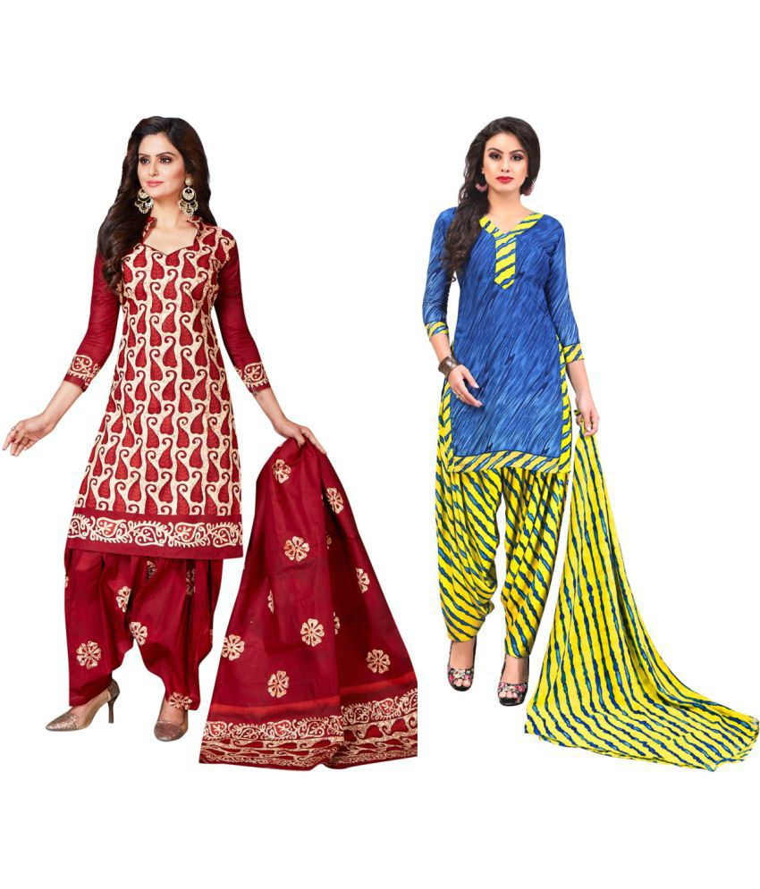 Jevi Prints Multicoloured Crepe Dress Material