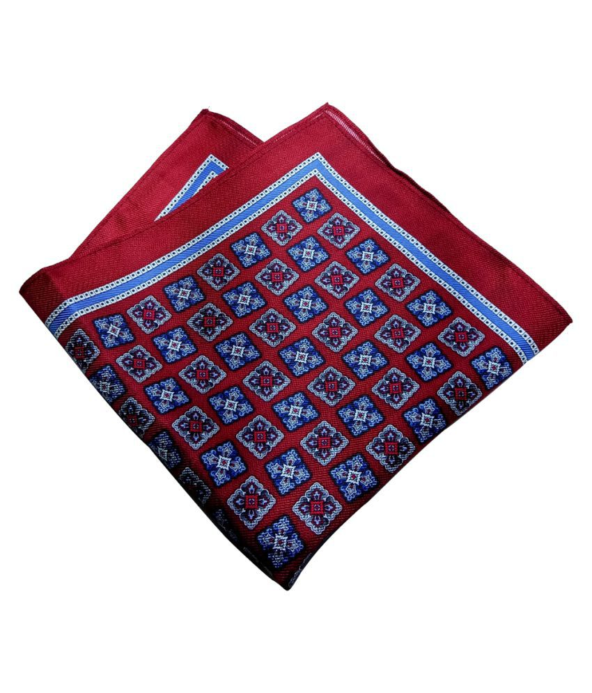 Mentiezi Silk Blue Color Printed Pocket Square with Maroon Color  Border