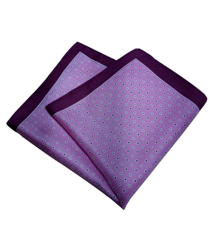 Mentiezi Silk Purple Color Printed Pocket Square with Black Color  Border