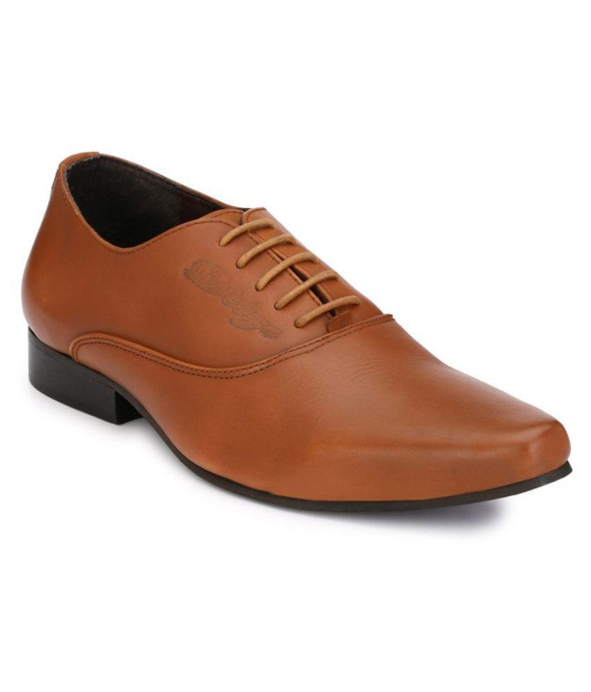 Delize Derby Genuine Leather Tan Formal Shoes