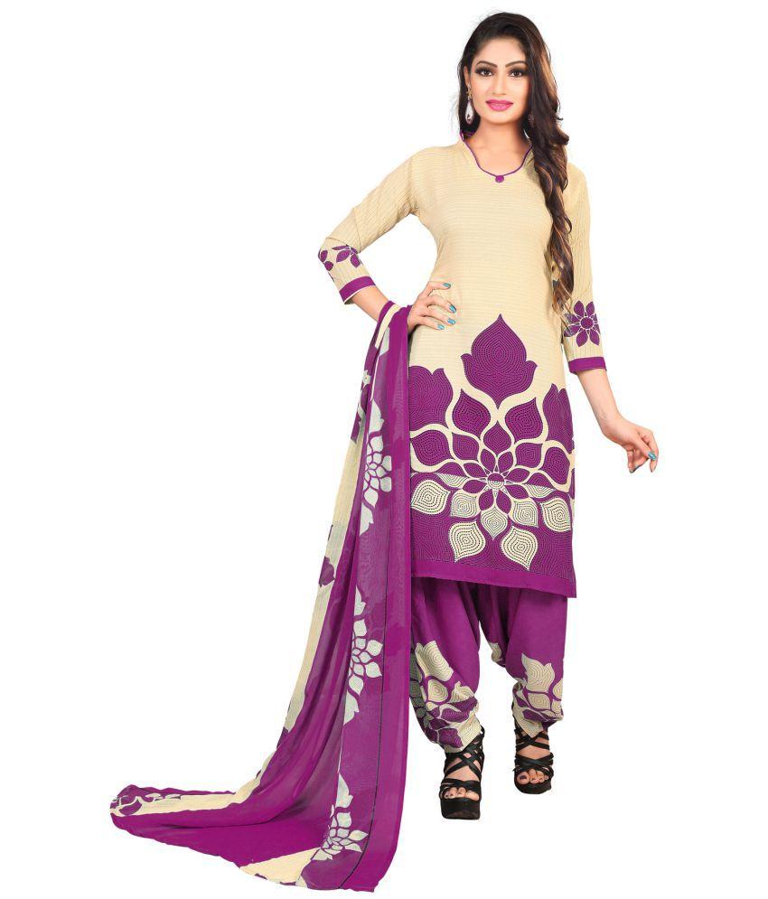 Salwar Studio Beige Synthetic Dress Material