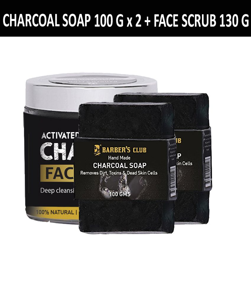 Barber's Club Charcoal Combo Natural & Organic- Ultimate detox (Charcoal Soap 100gmX2 + Activated Facial Scrub 130 g