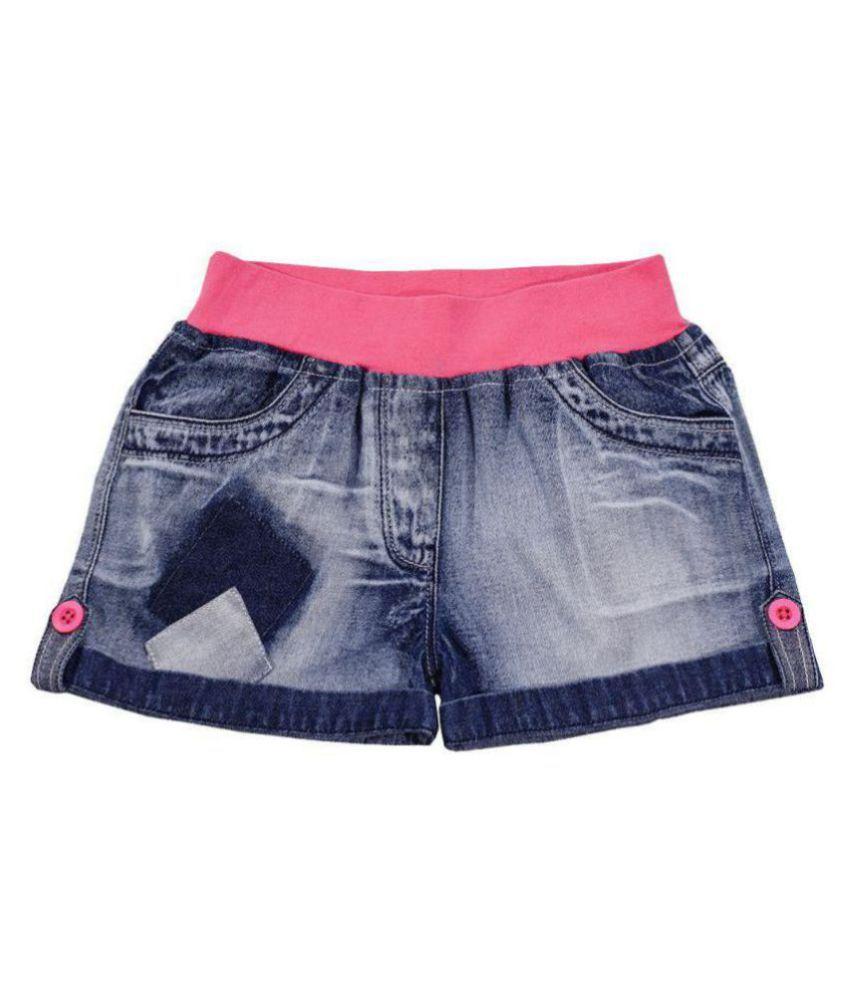 Naughty Ninos Girls Blue Washed Denim Shorts with Ribbed waist