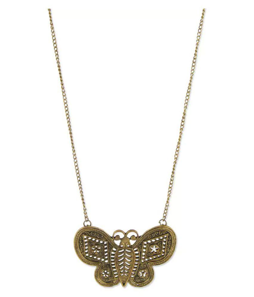 Bling studio gold butterfly shaped hand worked metallic necklace