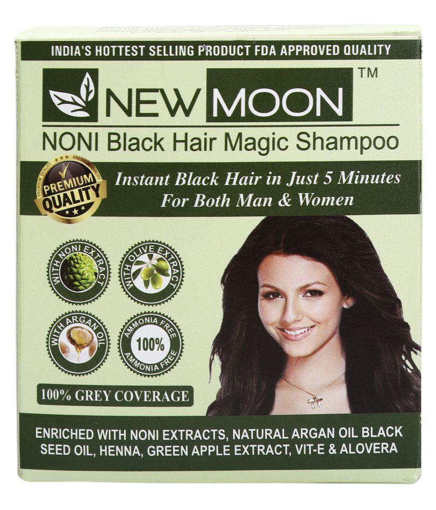 New Moon Noni black hair magic shampoo no amoniya Permanent Hair Color Black Black 15 mL Pack of 20