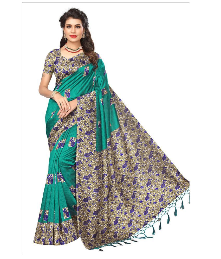 Ozon Designer Fab Turquoise Cotton Silk Saree