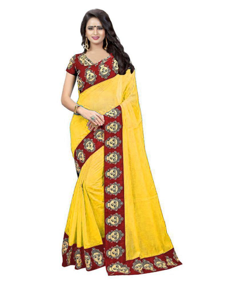 Winza Designer Yellow Chanderi Saree