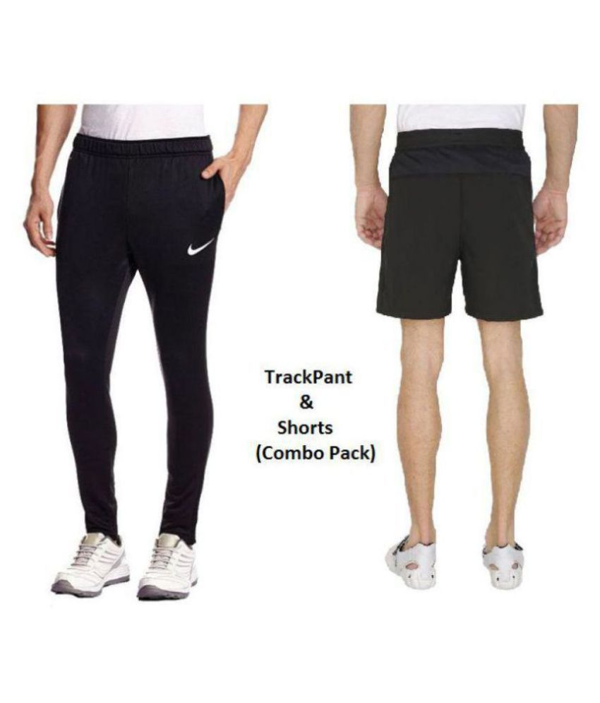 Nike Black Polyester Men/Boy's trackPant and Shorts Combo pack for Walking