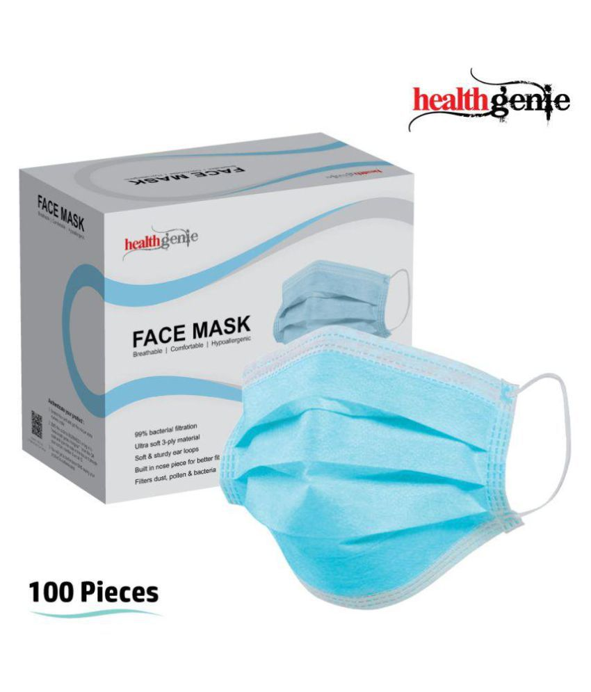 Blue Disposable Face 3-ply 100 Mask- Pcs Healthgenie