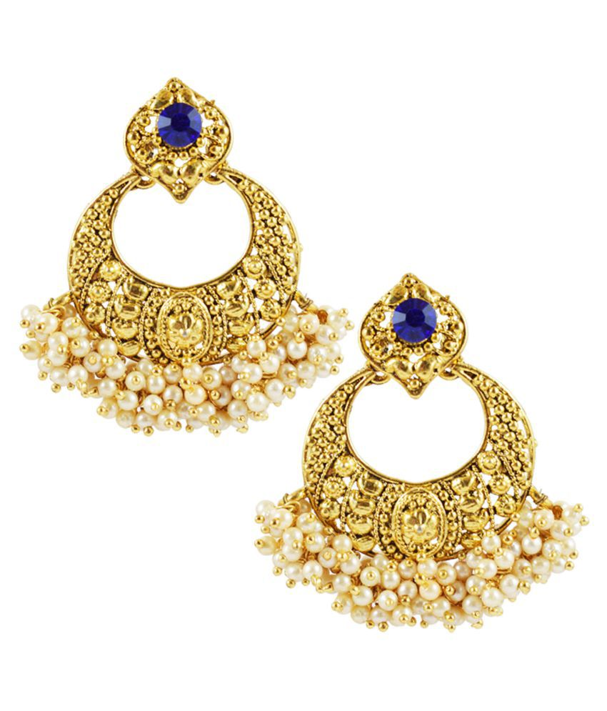 Slamay Fashion Gold Plated Latest Design Oxidized Push Back Faux Pearl Blue Chandbali Earring for Women