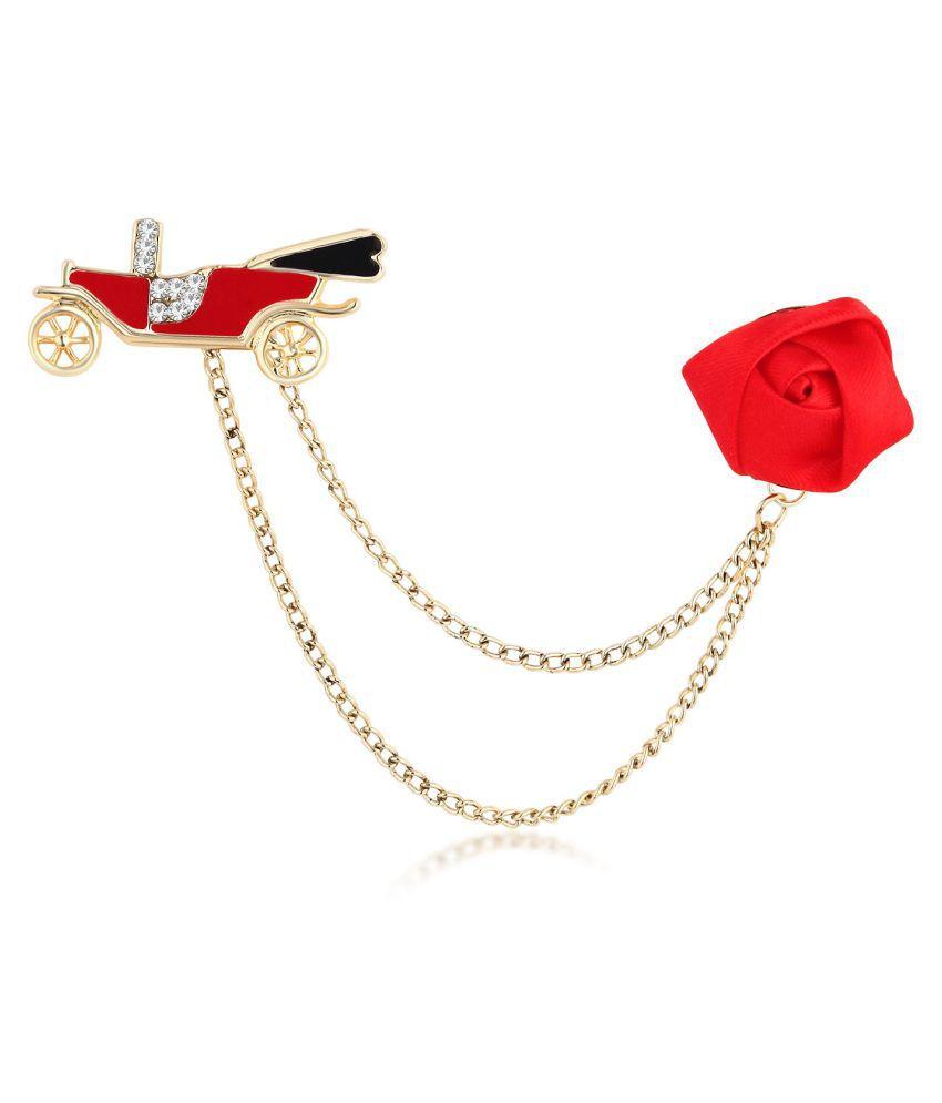 Sukkhi Modish Gold Plated Car and rose shaped Brooch pin