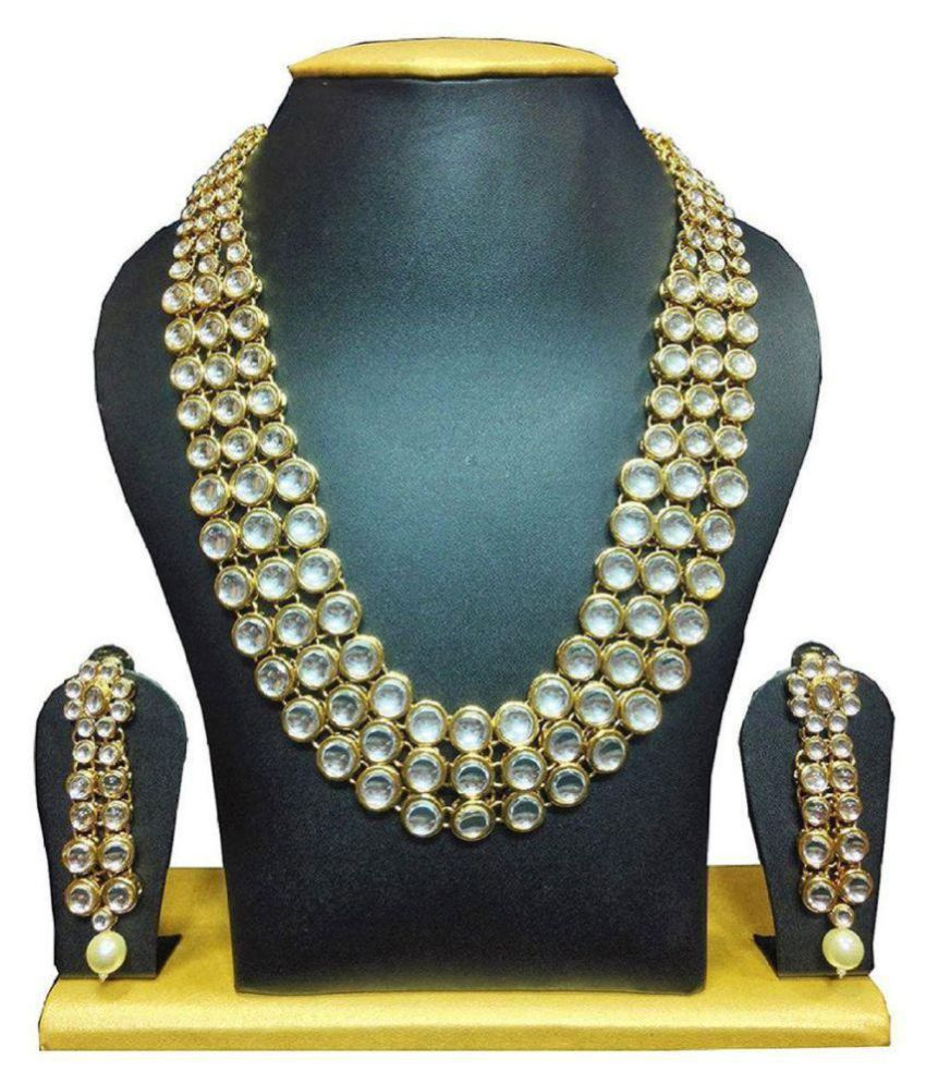 f04947a66b2a9 Zeneme Gold Plated Traditional Jewellery Kundan Pearl Necklace Set with  Earrings for Women