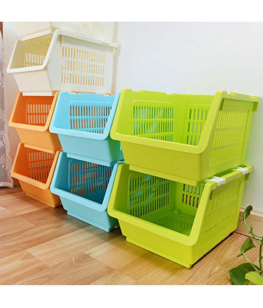Plastic Kitchen Vegetable Fruit Stackable Basket Storage ...