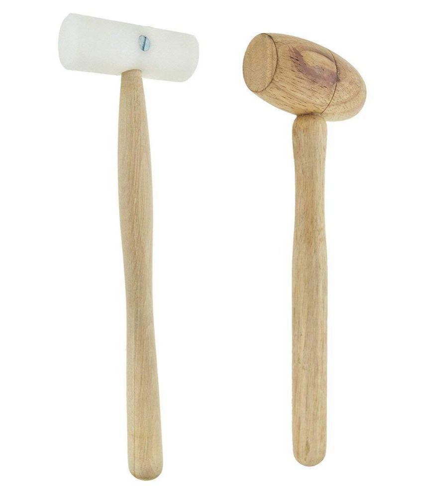 """10 Inch Non Marring Plastic Head Mallet Metal Forming Hammer Jewelry Craft, Jewellery Making Beading Tools & 9.2"""" Carpenters Use Wooden Mallets Hammer To Strike Wood Chisels During Carpentry Work"""