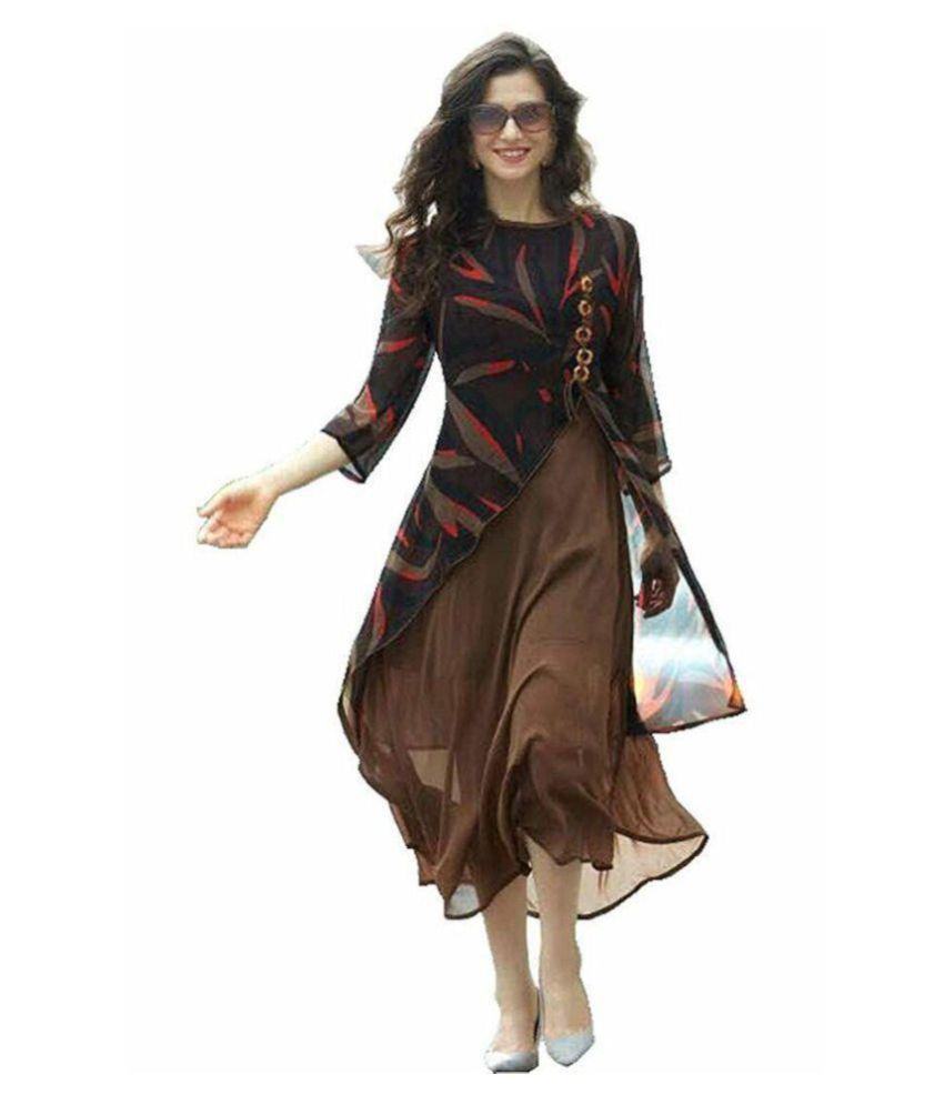 MonikaFashion Brown Georgette Anarkali Kurti