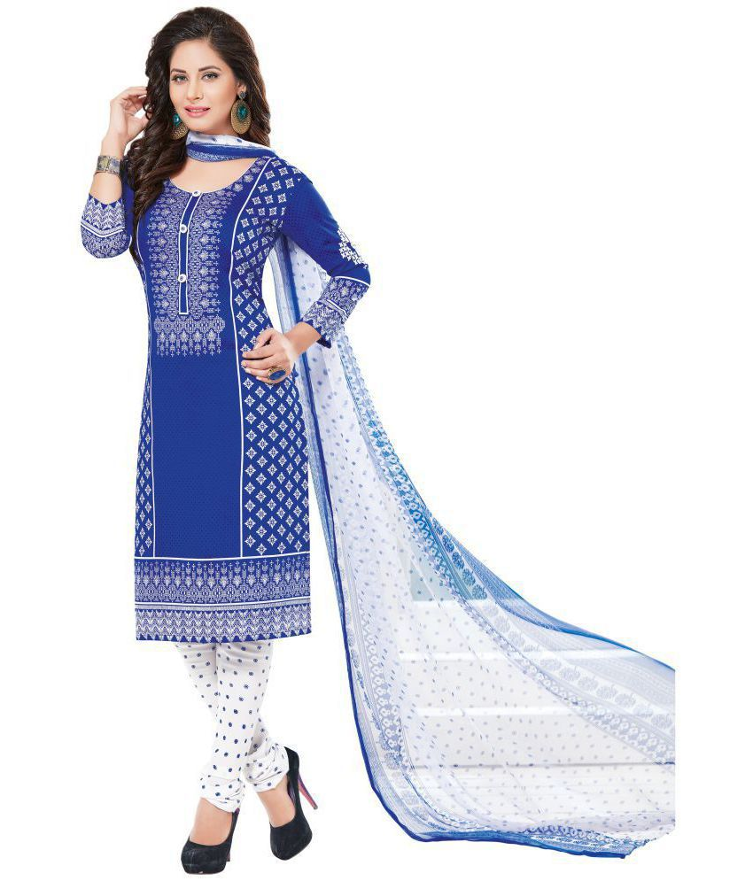 Women Shoppee White and Blue Synthetic Dress Material