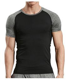 Zesteez Black Grey Half sleeves Men ultra stretchable gym-workout compression support tshirt in premium Quality fabric    compression Support    GYM    YOGA   Active-wear    Sportswear   cycling  Running