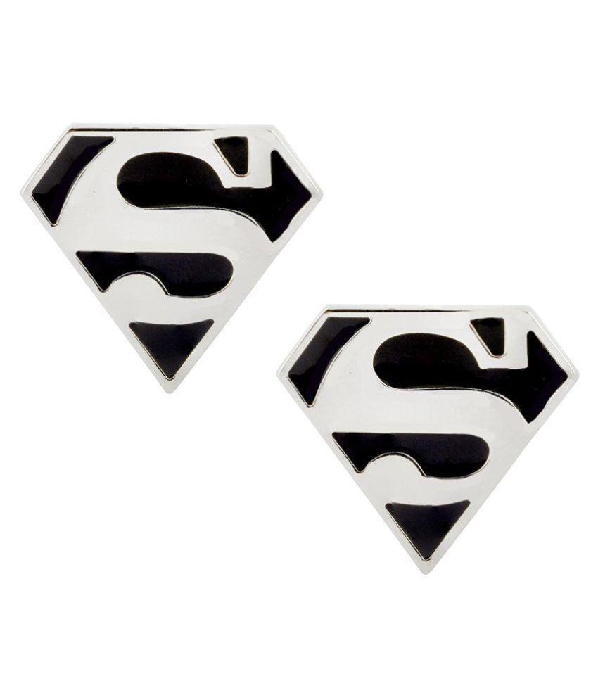 The Jewelbox Glossy Superman Logo Black Enamel Silver Rhodium Plated Brass Cufflink Pair For Men
