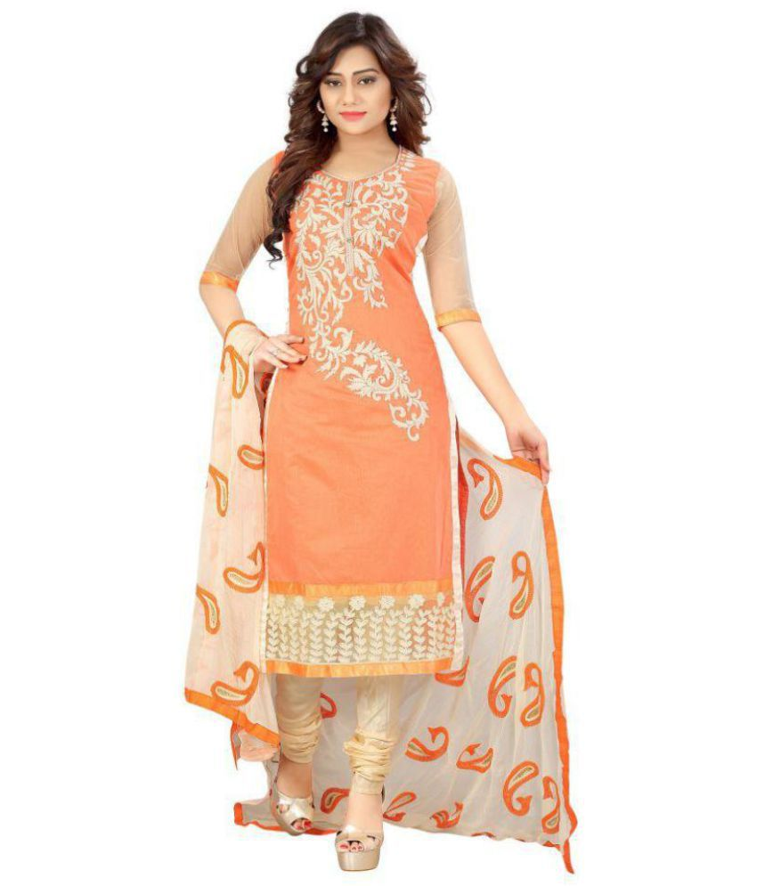 ARSH IMPEX Orange and Beige Chanderi Dress Material