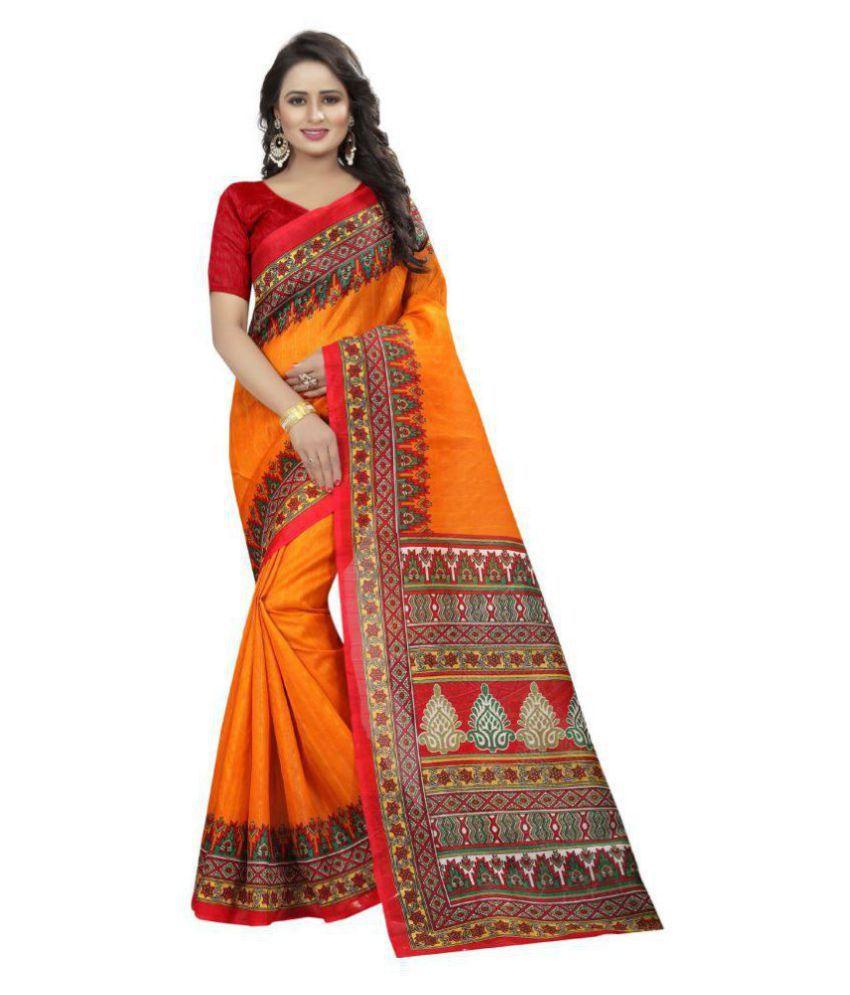 Rekishn Brown and Orange Cotton Silk Saree