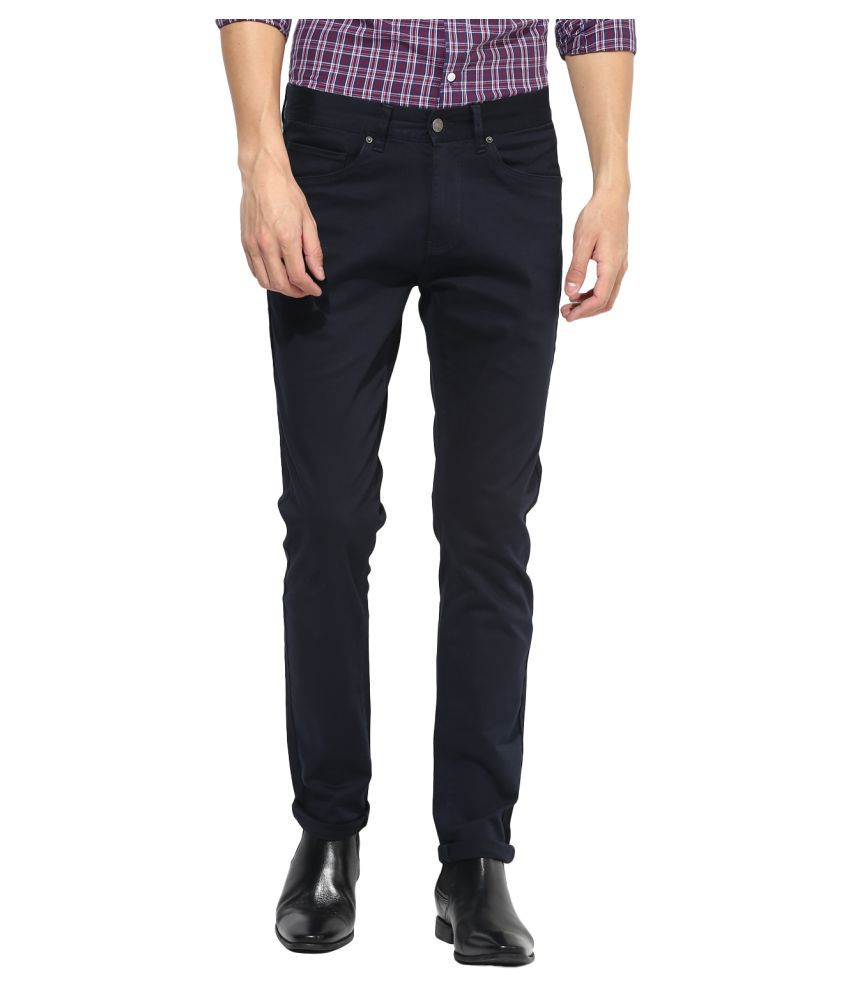 Red Tape Navy Blue Slim -Fit Flat Chinos