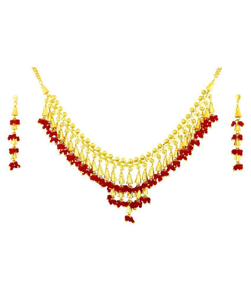 Shining Jewel Traditional Gold Jewellery Necklace Set 22K with Earrings for Women & Girls (SJ_2528)