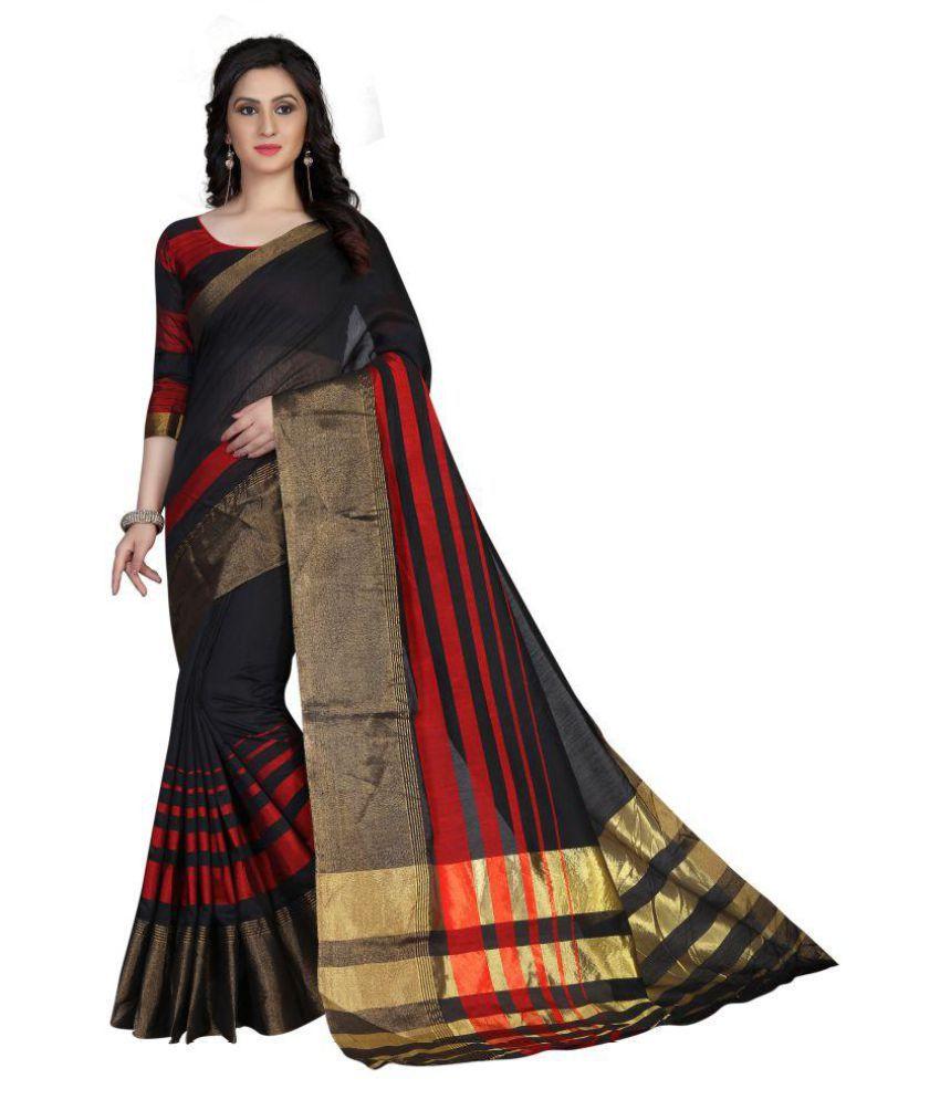Varni Fashion Brown Cotton Silk Saree