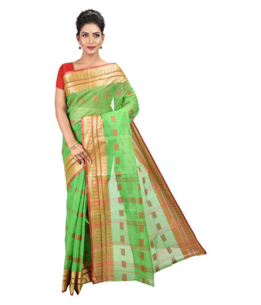 RAJSA Green Cotton Saree