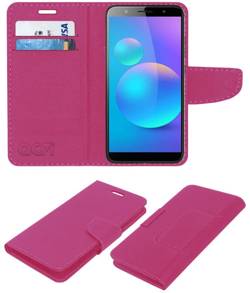 Tecno Camon I Air Flip Cover by ACM - Pink Wallet Case,Can store 2 Card/Cash