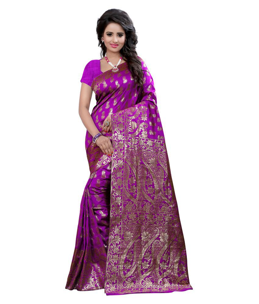 Concepta Maroon and Purple Cotton Silk Saree