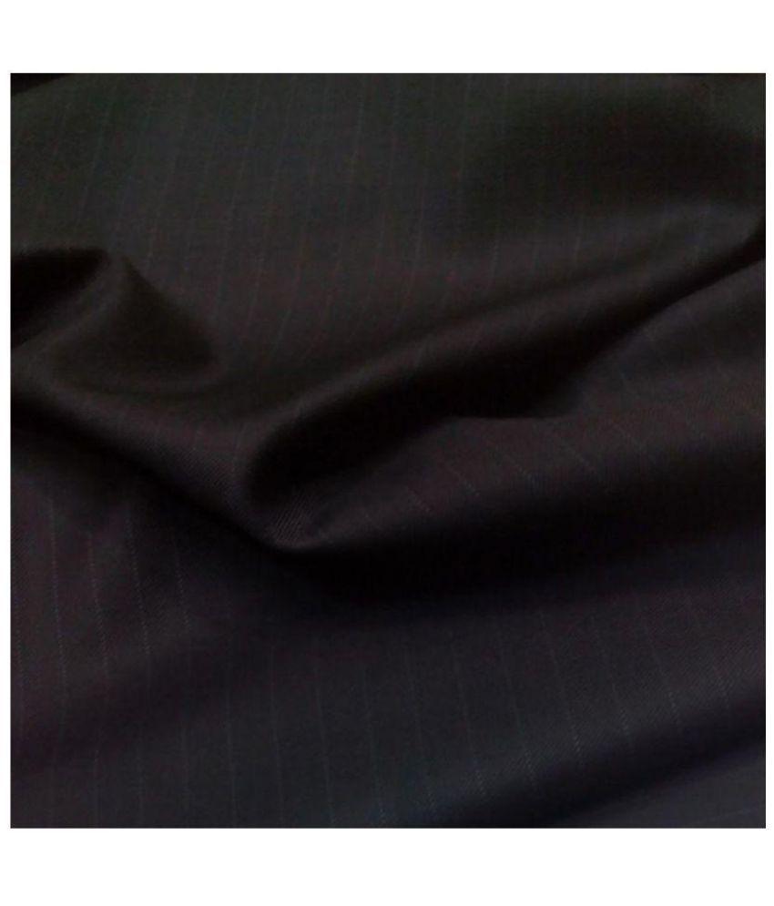 Dmor Black Cotton Blend Unstitched Shirts & Trousers
