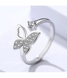 Beautifully Crafted Hollow Wing Butterfly Cubic Zircon Adjustable Ring For Women & Girls