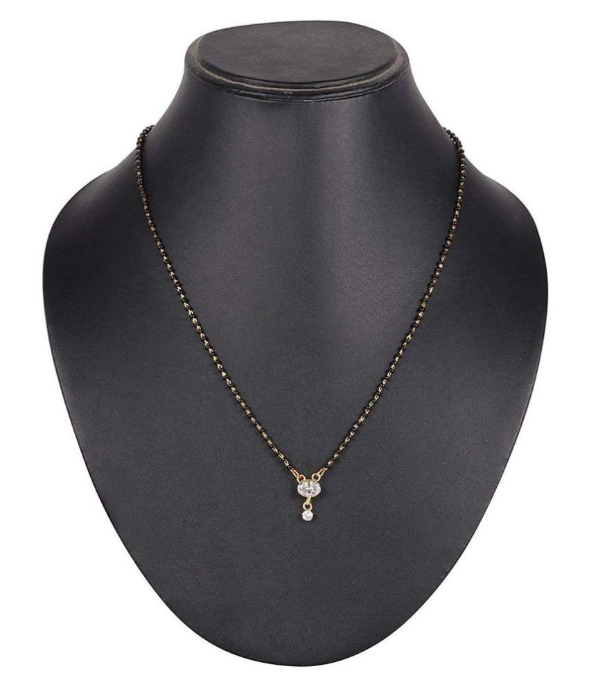 C.S COLLECTION Gold With Black beads and Crystal Alloy Mangalsutra For Women