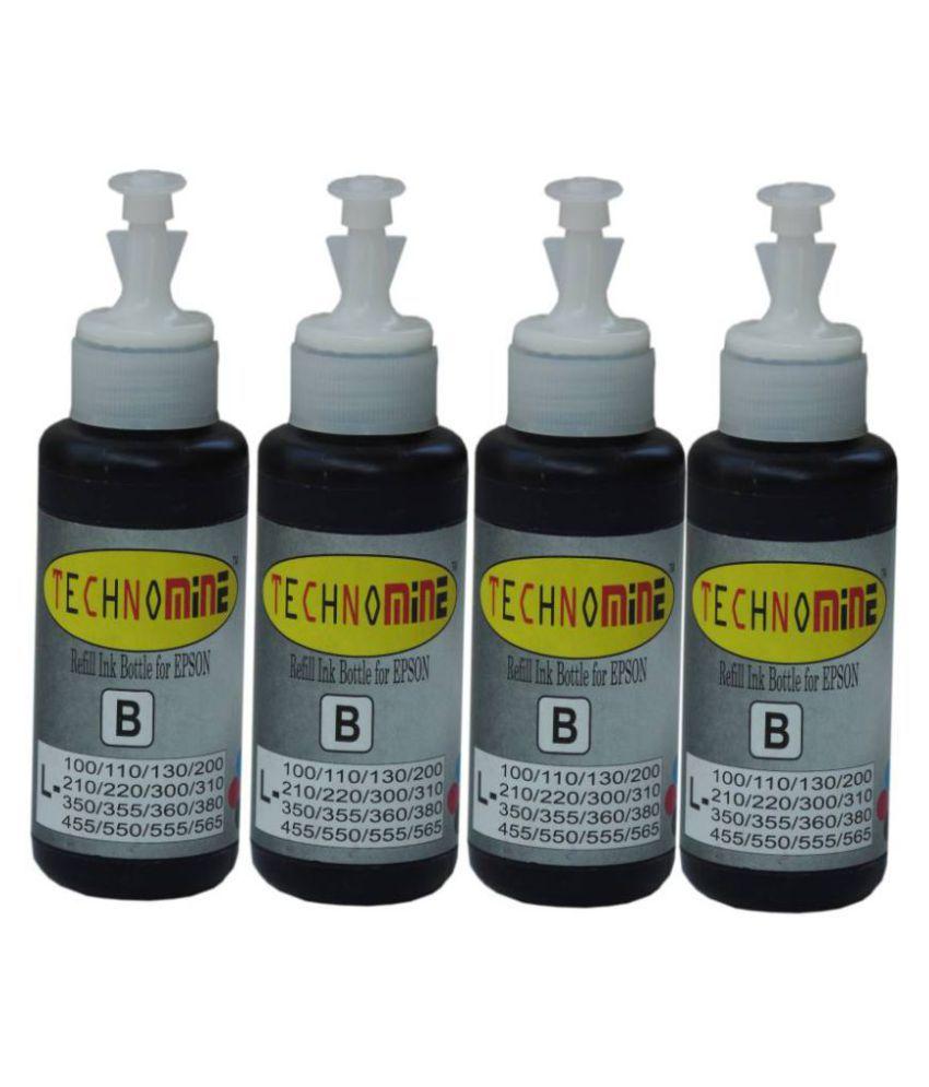 TECHNOMINE Epson T664 Ink  L100,L110,L130,L200,L210,L220,L360,L380,L385,L450,L455,L465,L485,L555,L565,L1300  Black ink Pack of 4 bottle Single Color Ink