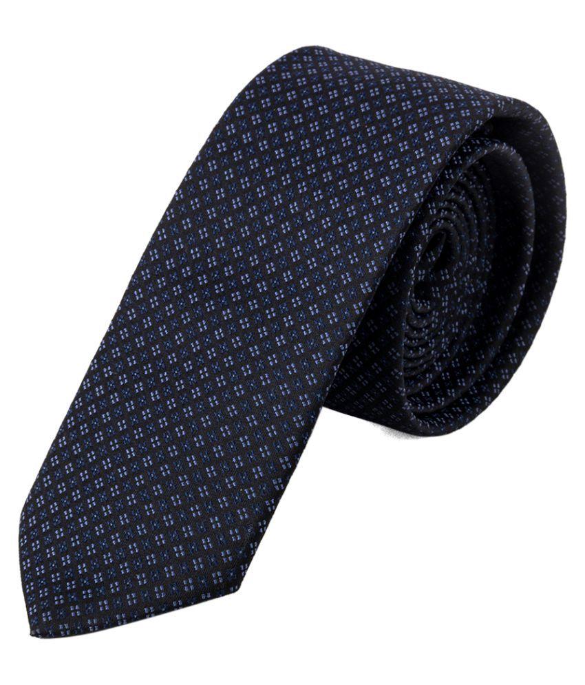 Jaaffi Black Polka Dots Micro Fiber Necktie