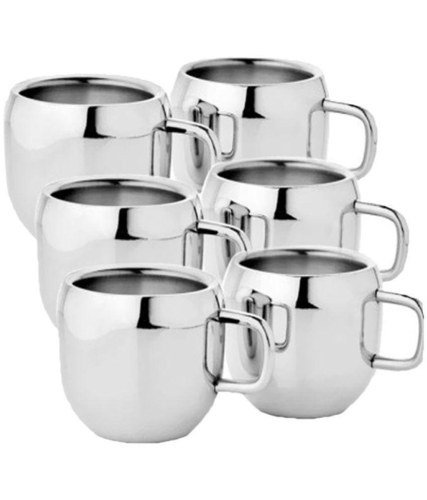 e6b68e2331a KC Stainless Steel Double Walled Coffee Tea Cup Mug 6 Pcs Set: Buy ...