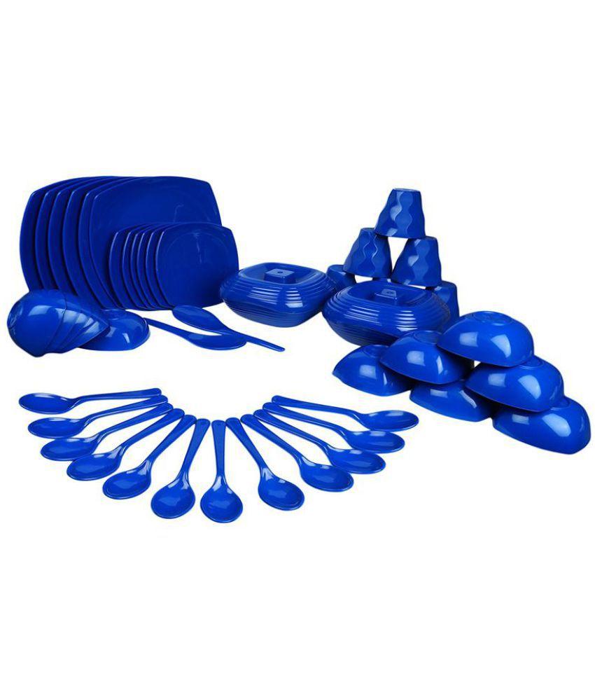 Phulkamatic Polypropylene Square Dinner Set of 48 Pieces - Dark Blue
