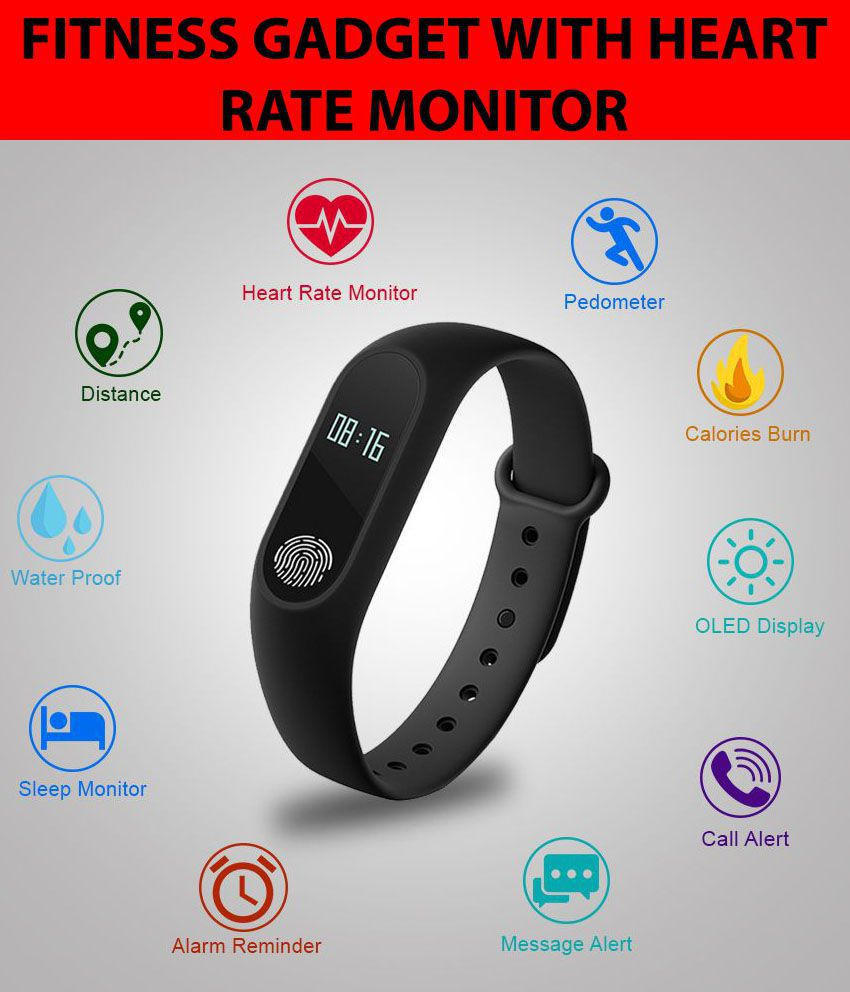 Bingo M-2 Waterproof Heart Monitoring Fitness Smart Band (Compatible with  all Android & IOS Devices) Bingo Fitness Band