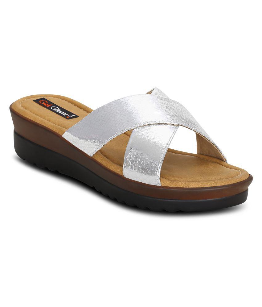 Get Glamr Silver Wedges Heels