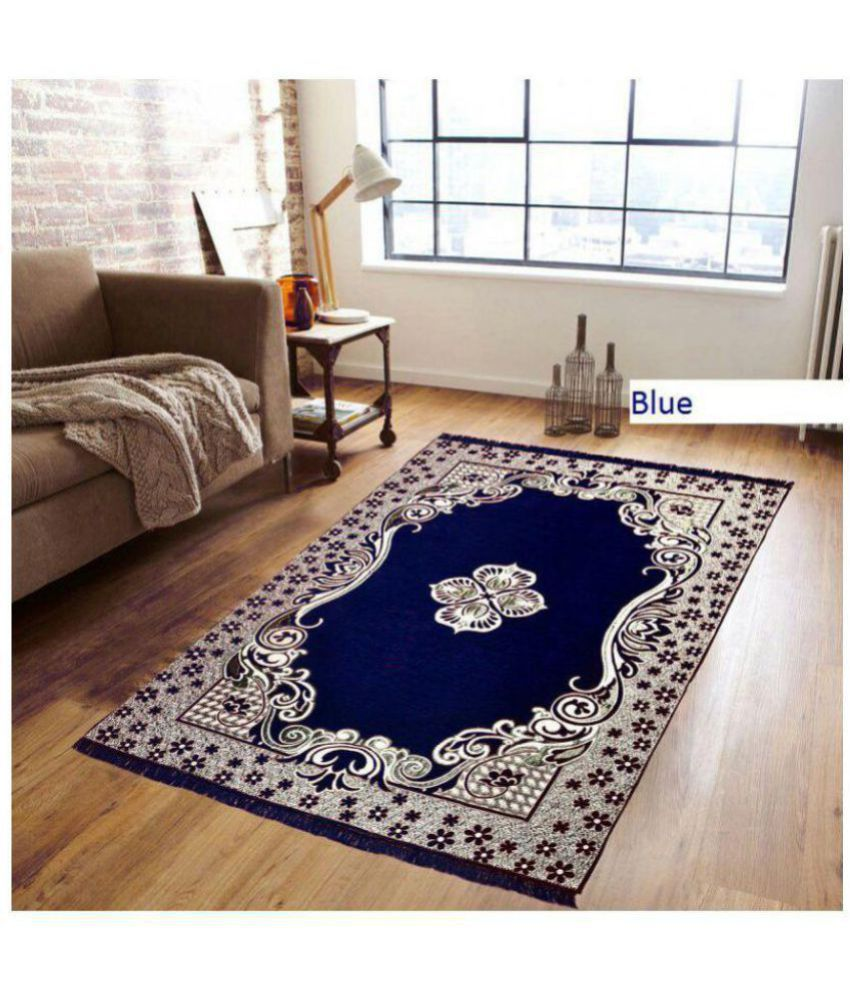 Kaizen Decor Blue Velvet Carpet Ethnic 5X7 Ft.