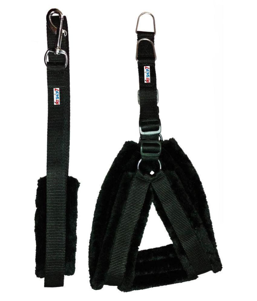 Petshop7 Nylon Dog Harness & Leash set with Fur 1.25 inch Large -  ( Chest Size - 28-34 )