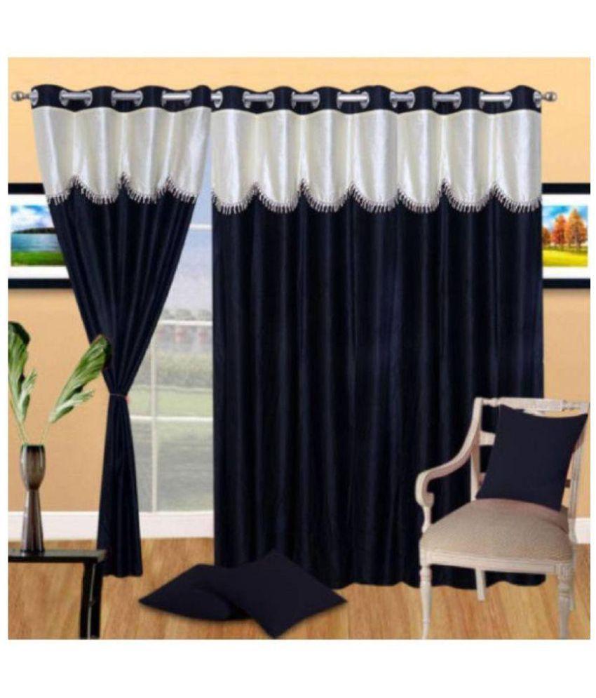 Tanishka Fabs Set of 3 Door Semi-Transparent Eyelet Polyester Curtains Black