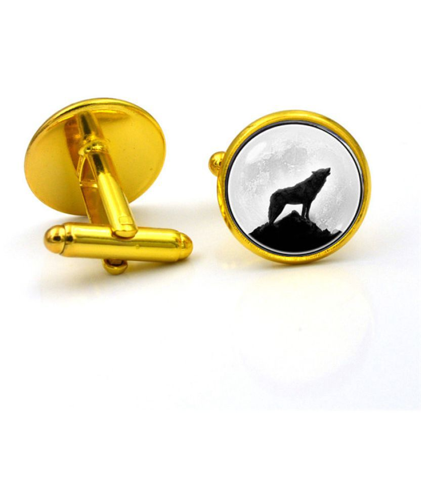 Kamalife Fashion Golden Alloy Letter Gem Cufflinks&Buttons Jewellery Accessories Gift
