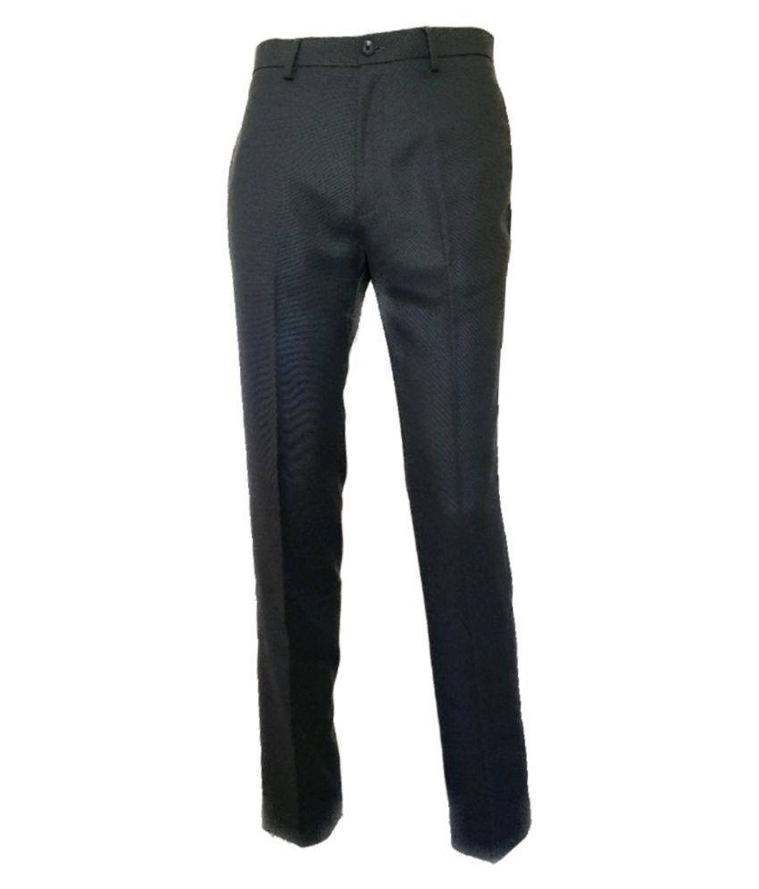 Viewmore Black Regular -Fit Pleated Trousers