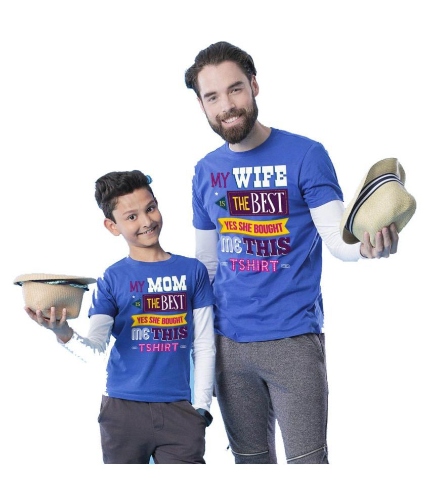 3ca94b5a7 BonOrganik Royal Blue My Mom My Wife Father Son Best Family Matching Father  and Son Tees-Dad and Son Combo Tshirts - Buy BonOrganik Royal Blue My  Mom My ...